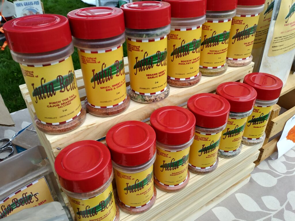 Photo of JuliaBelle's Seasonings containers.