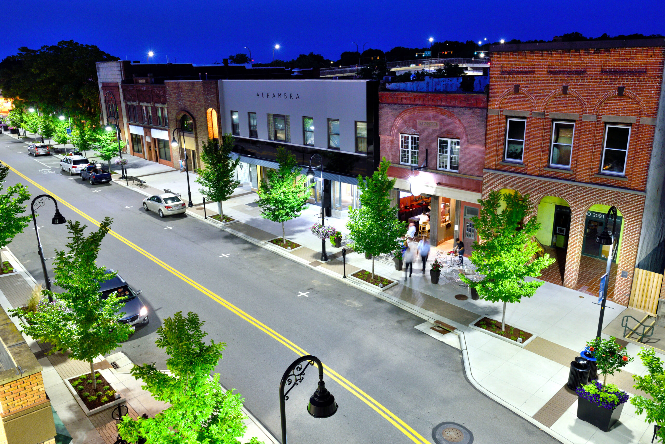 Depiction of downtown Cuyahoga Falls.
