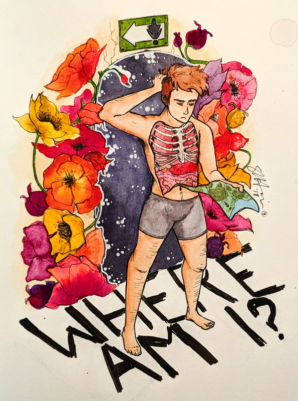 Illustration of person and flowers, titled Where Am I?